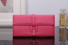 Grebago Women's Genuine Leather Long Wallet Clutch Purse Handbag Card Holder Case with Coin Zipper Pocket Rose-carmine (Gift box) at Amazon Women's Clothing store: