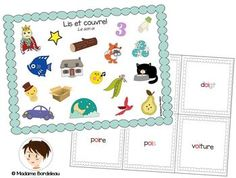 Lis et couvre: Les sons oi, in, on, ou et ch Future Classroom, Classroom Ideas, Madame, 3 D, Sons, French, Word Map, Reading Centers, Game Boards