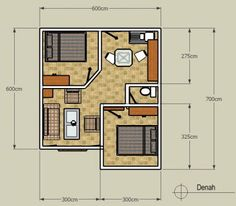 40 Examples of Minimalist House Plans Type 36 Apartment Layout, Apartment Plans, Apartment Design, Small House Floor Plans, Simple House Plans, Home Design Plans, Plan Design, 2 Bedroom House Plans, Small House Design