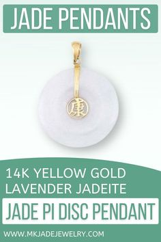 Classic lavender jade pi disc pendant design with 14K yellow gold strap, bail and Chinese Character Center meaning health. Use discount code INSTA10JORDAN at checkout! Jade Pendant, Pendant Jewelry, Pendant Design, Small Businesses, Unique Gifts, Lavender, Chinese, Pendants, Jewellery