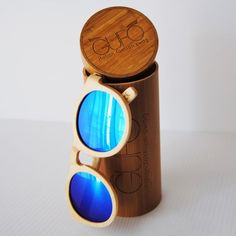 Light Wooden Sunglasses with Blue Mirrored Lenses - $31