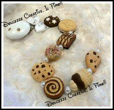Portaciuccio Baby Unisex Bianco: donut, cookie, cupcake, ringo, pan di stelle, tegolino, gocciole, by Dolcezze creative.. il fimo!! , 15,00 € su misshobby.com