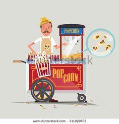 popcorn cart with seller - vector illustration - stock vector