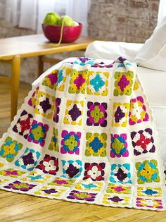 Great saturated colors in this afghan! Weekend in Stockholm Throw (crochet afghan pattern) Grannies Crochet, Crochet Motifs, Granny Square Crochet Pattern, Crochet Squares, Love Crochet, Learn To Crochet, Beautiful Crochet, Crochet Baby, Knit Crochet