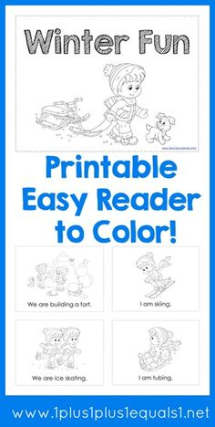 Free Winter Fun Easy Reader to Color ~ scale to print any size you want!