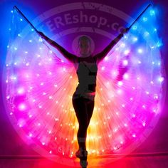 Smart LED Bellydance Rainbow wings – LED light up rainbow isis wings – SMART 164