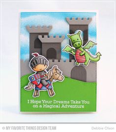 Handmade card from Debbie Olson featuring Castle Die-namics #mftstamps