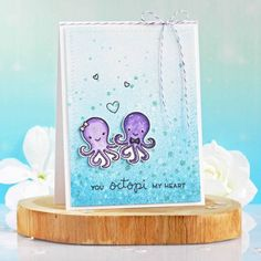 Wedding Cards Handmade, Handmade Cards, Lawn Fawn Blog, Lawn Fawn Stamps, Handmade Card Making, Watercolor Cards, Octopus, I Card, Paper Crafts