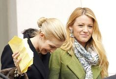 Blake Lively and Kelly Rutherford are swarmed by press at Brooklyn's borough hall while filming 'Gossip Girl' on March 1