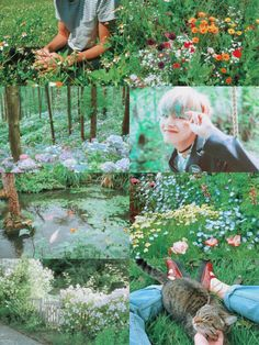 Aesthetic So I read a JiKook fic where Tae is the forest fairy with his poison colors and once you give in you die. and this fic is amazing in an otherwordly way. Aesthetic Collage, Kpop Aesthetic, Flowers In Hair, Spring Flowers, Taekook, Memes, Couple Illustration, Forest Fairy, I Love Bts
