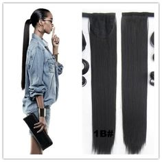 (31.04$)  Watch here  - Full Shine Hair Unprocessed Virgin Brazilian Ponytail Hair Extensions 14-26 Inch Color 1B Straight Ponytail Human Hair 80gram