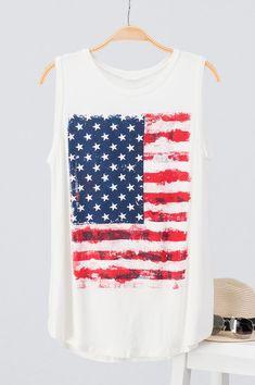 American flag tank women's clothing Fourth of July Heart Murmur, American Flag Tank, Fourth Of July, Clothing, Summer, T Shirt, Women, Style, Fashion