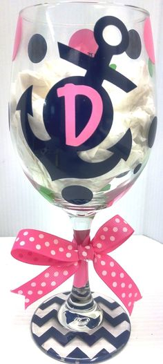 Jodi's Accessories - Anchor with Initial and Polka Dots Wine Glass, $10.00 (http://www.jodisaccessories.net/products/anchor-with-initial-and-polka-dots-wine-glass.html)