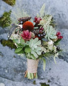 This succulent and exotic flower bouquet is beautiful! This would perfectly fit a desert elopement wedding! Fall Bouquets, Fall Wedding Bouquets, Fall Wedding Flowers, Floral Wedding, Summer Flowers, Succulent Bouquet, Wedding Trends, Wedding Ideas, Flower Arrangements