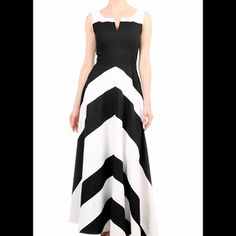 "New Eshakti Chevron Dress M 8 New Eshakti black & white chevron dress. Size 8 Short Measured flat: Underarm to underarm: 33 1/2"" Empire waist: 30"" Length: 51""  Eshakti chart for bust size 8: 36"" Side hidden zipper. Princess seamed bodice, wide banded empire waist, side seam pockets. Lined in cotton voile. Cotton, woven poplin, pre-shrunk. Machine wash Price firm unless bundled 10 % discount automatically applied @ checkout eshakti Dresses"