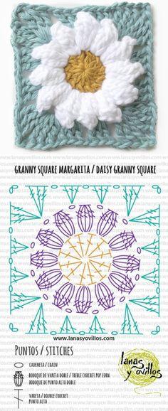 Crochet Flower Squares, Flower Granny Square, Crochet Sunflower, Crochet Daisy, Crochet Granny, Free Crochet, Granny Square Pattern Free, Square Patterns, Granny Squares