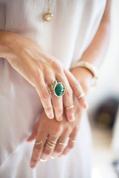 Lovely staking rings but it's all about the emerald ring!