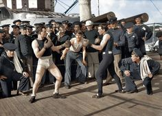 A boxing match between two marines from 116 years ago.