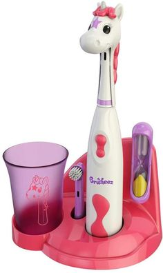 Keep your little one's smile happy and healthy with this Brusheez children's electronic toothbrush set.