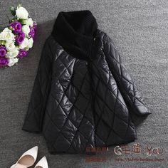 Стильная женская стеганная куртка с вязаным воротником до 52 размера арт 1800 за 4416 руб. .