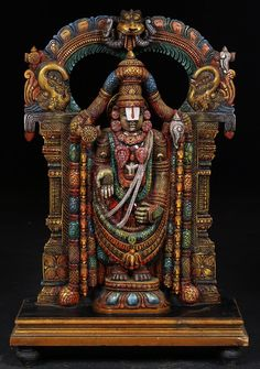 "View the SOLD Colorful Wooden Sculpture of Balaji with Arch 30"" at Hindu Gods & Buddha Statues"