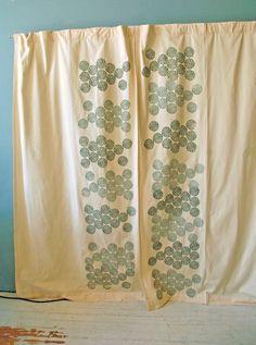 Creme Curtain set with Grey Astera Print