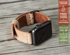 Apple Watch Band Leather Watch Band Minimal in Original Natural Vegetable Tanned 38mm 42mm Series 1 2 [Handmade] [Custom Colors] by TRIMleather on Etsy https://www.etsy.com/listing/472399345/apple-watch-band-leather-watch-band