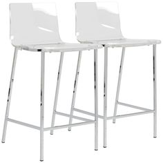 Chloe Acrylic with Chrome 17-Inch-W Set of 2 Counter Stools - Euro Style Lighting