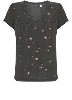 Khaki Metallic Star Print Tee