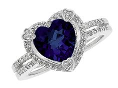 #Capri #Jewelers #Arizona ~ www.caprijewelersaz.com  ♥ September Birthstone Checkerboard Blue Sapphire Heart Silver Ring
