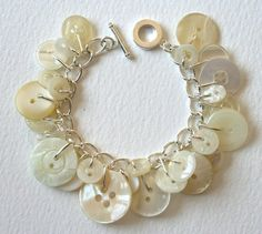 Icy pearl button bracelet.