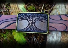 Tree Buckle Belt Buckle Woods Tree Forest by artonleather on Etsy