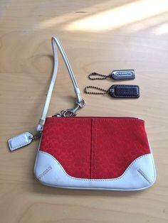 "Coach Leather Logo ""C"" Fabric White Red Wristlet Bag Purse 6.5 x 4"" + 2 Tags #Coach #Wristlet"