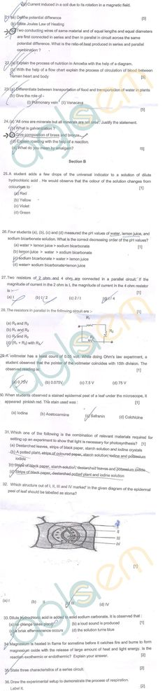 CBSE Class 10 SA1 Question Papers - Science | AglaSem Schools