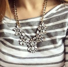Featuring the Blooms of Crystal Statement Necklace $9.95USD available at BibJewelry.com | Worldwide Shipping
