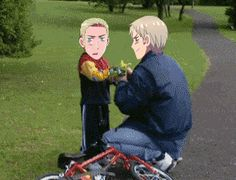 hetalia funny gifs | Prussia helps Germany his bike! - Hetalia Photo (35736678) - Fanpop ...