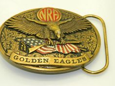 NRA Goldern Eagle belt buckle by RubesRelics on Etsy, $19.40