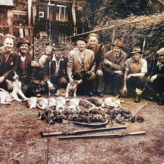 An old family photo taken after a parricularly successful hunting.  #family #familyhistory #familyphoto #familyphotography #history #history #grandpa #grandfather #hunt #hunting #men #outdoors #countryside #farm #blackandwhite #sepia #cafezique #gatherbyzique #byzique
