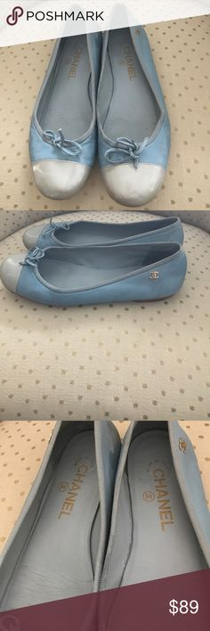 Chanel Two-Toned Ballerina Flats Stunning light blue two-toned Ballerina flats great to pair with jeans or white summer outfit! Extremely comfortable. Light blue and silvery blue with monogram Chanel on both sides. 100% leather. Made in Italy. CHANEL Shoes Flats & Loafers