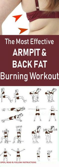 The most effective armpit & back fat burning workout # fitness Forma Fitness, Gym Fitness, Armpit Fat, Back Fat, Mental Training, Back Exercises, Workout Exercises, Belly Fat Workout, Fat Burning Workout