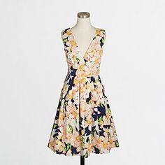 Factory sateen V-neck dress in floral