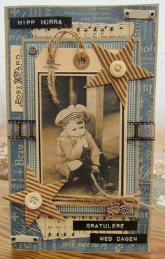 Tag - art journal - greeting card inspiration.  Vintage, beach. min lille scrappe-verden: Bursdagskort