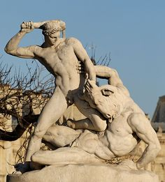 Theseus fighting the Minotaur by Étienne-Jules Ramey (French, 1796–1852). Marble, 1826. In the Tuileries Gardens, Paris.