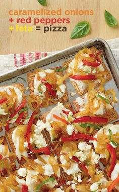 Pizza that's pre-cut. Caramelized onions, roasted red peppers, and feta all on a Triscuit. Get 'em while they're hot. Triscuit. Made for more.