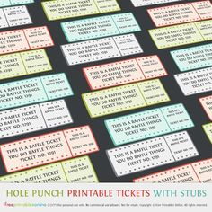 Concert Ticket Template Free Printable Simple These Printable Raffle Tickets Are Multicolored And Great For .