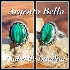 Argento Bello by Bandini. Malachite wrapped in twisted Sterling.