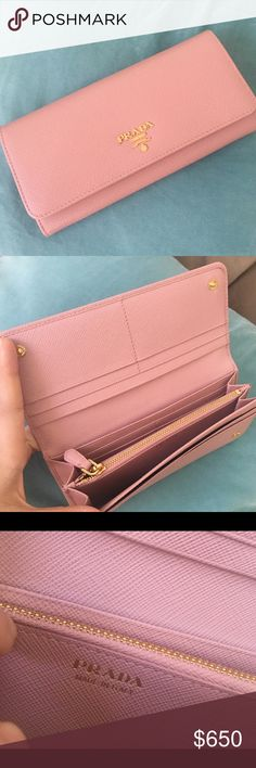 Prada wallet in orchid pink Brand new without tags. Received it as a gift never used it once. Absolutely pristine condition. Gorgeous rosy Sakura pink Prada Bags Wallets