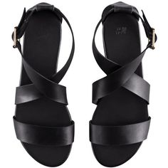 H&M Sandals ($9.97) ❤ liked on Polyvore featuring shoes, sandals, flats, black, black strappy shoes, strappy sandals, vegan shoes, black shoes and strappy flats