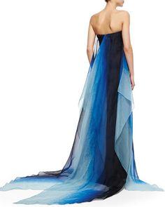 Pamella Roland  Strapless Ombre-Flutter Organza Gown, Indigo