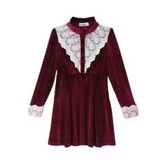 High Collar Lace Top Velvet Dress ($127) ❤ liked on Polyvore featuring dresses, lace up dress, long sleeve lace dress, long sleeve lace cocktail dress, purple lace dress and long sleeve velvet dress